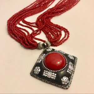 Jewelry - Red Beaded Necklace with Gorgeous Pendant